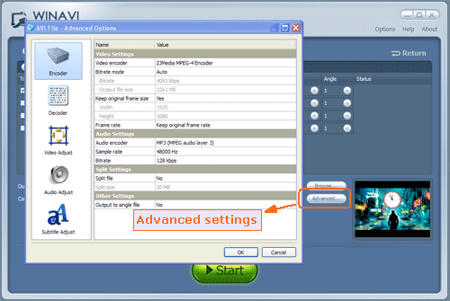 adavnced settings for bluray to avi conversion - screenshot