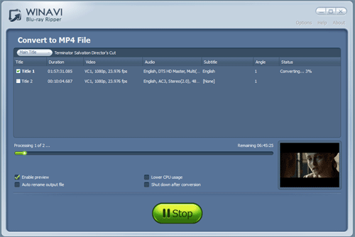 Convert bluray to mp4 with WinAVI Blu-ray ripper - screenshot