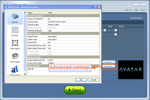 advanced settings for converting bluray to mpeg - screenshot