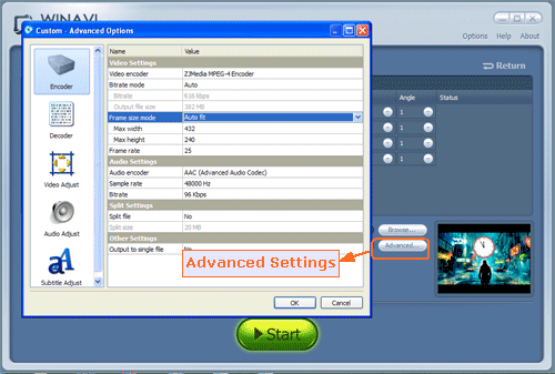 Set advanced options for converting bluray to psp - screenshot