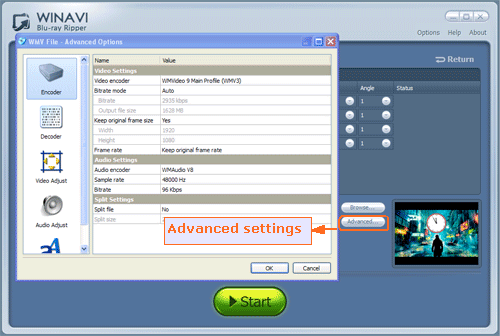 advanced options for converting bluray to wmv - screenshot