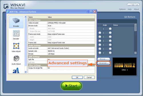 advanced settings for converting bluray to mov format - screenshot