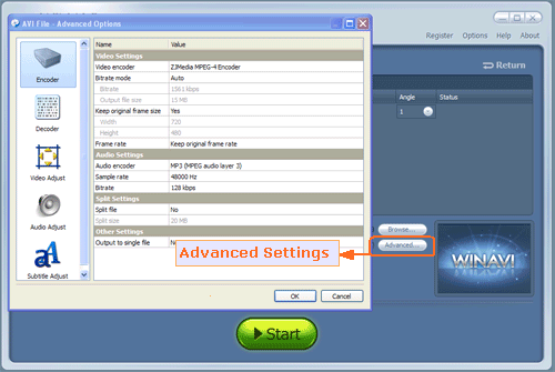 set advanced settings for dvd to avi conversion - screenshot