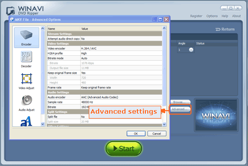 Do advanced setting for ripping DVD to MKV format - screenshot