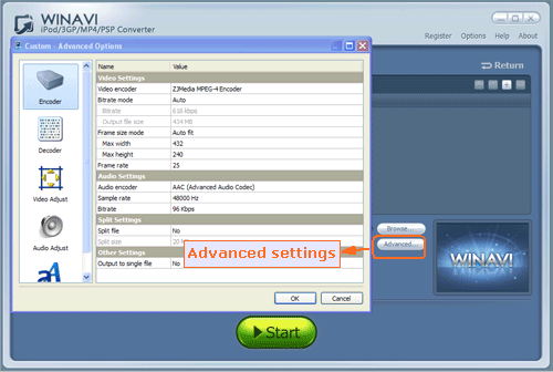 Advanced settings for avi to psp conversion