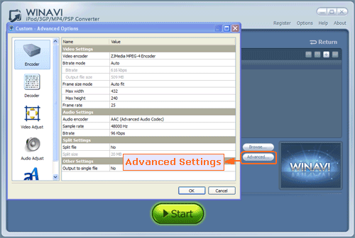 Advanced settings for RM and RMVB to PSP conversion