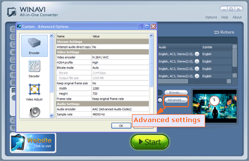 advanced settings for converting Bluray to HD MKV- screenshot