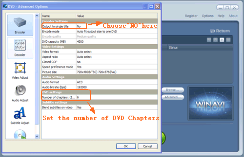 Set dvd chapter settings to create dvd chapter menu - screenshot
