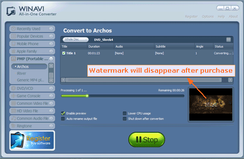 Convert DVD to Archos with WinAVI All In One Converter - converting screenshot.