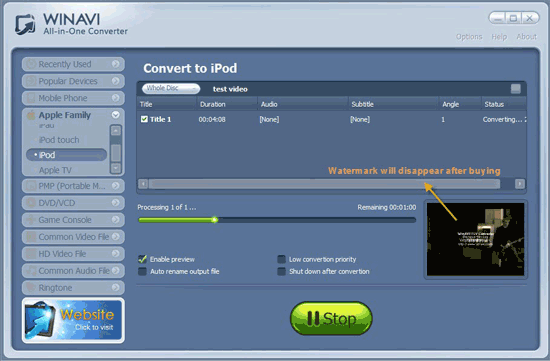 converting dvd to ipod interface - screenshot