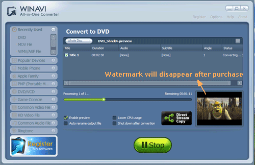 convert dvd to mov with WinAVI All In One converter - screenshot