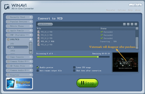 convert dvd to vcd with WinAVI All In One converter - screenshot