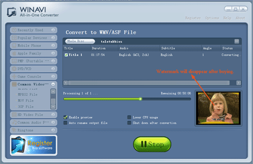 convert dvd to wmv with WinAVI All-In-One converter - screenshot