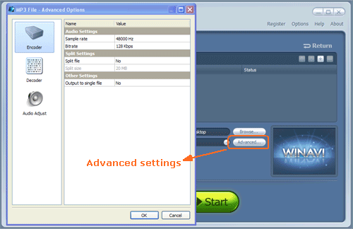 Do advanced settings for flv to mp3 conversion - screenshot
