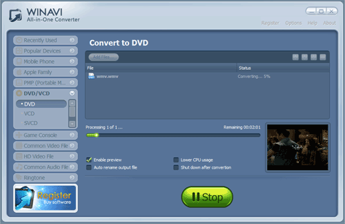 Convert avi to dvd with WinAVI All In One converter - screenshot