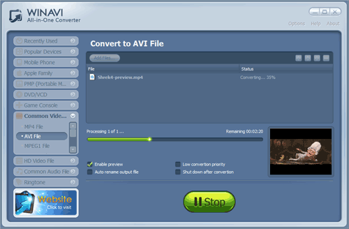 WinAVI All-In-One Video convert mp4 to avi - screenshot