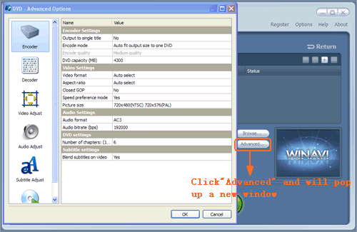 Do advanced settings for MP4 to DVD conversion - screenshot
