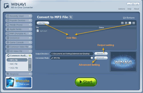 WinAVI All-In-One add more mp4 files to convert to mp3 - screenshot