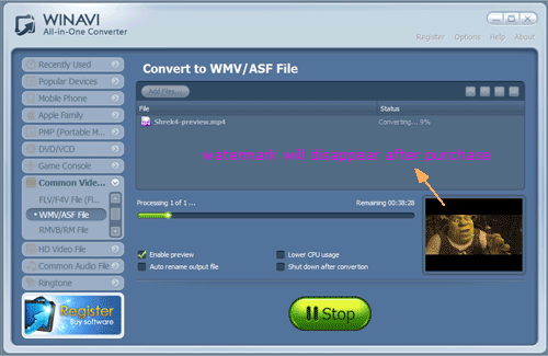 WinAVI All-In-One covnerter convert mp4 to wmv - screenshot