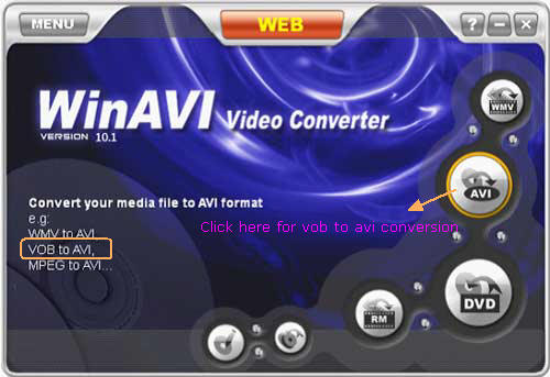 video converter interface for vob to avi conversion - screenshot