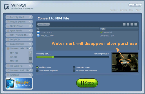 convert vob to mp4 with WinAVI All-In-One converter - screenshot