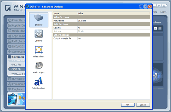 WinAVI All-In-One Video wmv to 3gp conversion advanced setting - screenshot