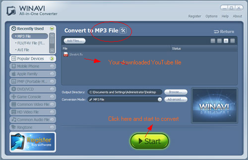 WinAVI All-In-One Video convert youtube flv to mp3 - screenshot